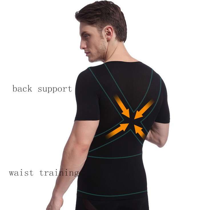 Men body Slimming undershirt control tummy girdles shapers short sleeve boobs tops waist back straight shirts