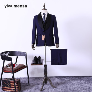yiwumensa wedding suits for men costume homme mariage 2017 Balck traje novio 3 Pieces (cost vest +pant) grooms Custom Made dress