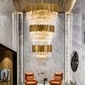 Большой кристалл подвесные светильники вилла Гостиная лестницы длинный подвесной светильник ресторан отеля офисное здание Роскошные хрус...