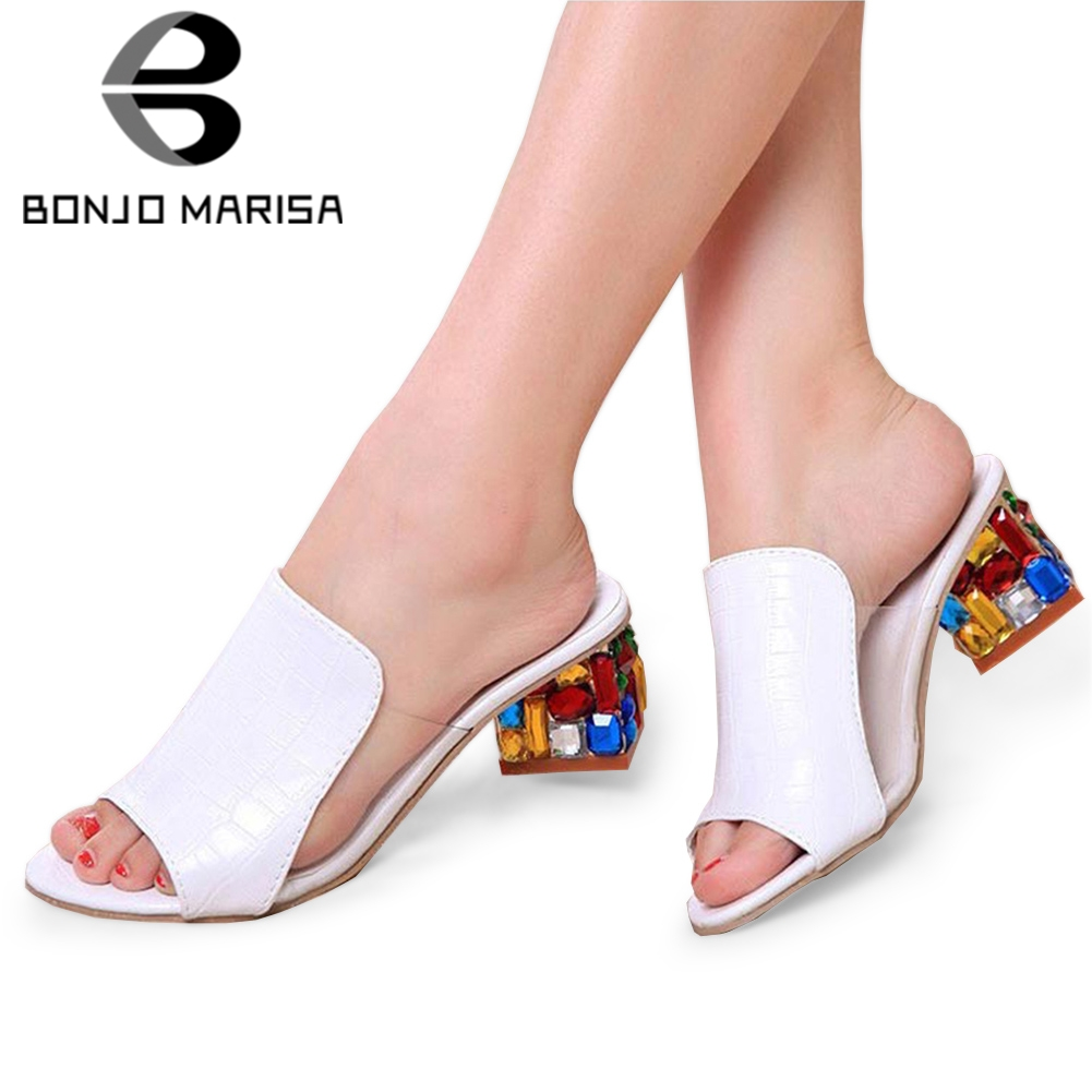 8a463e14d Detail Feedback Questions about BONJOMARISA 2019 Summer Brand Big Sizes 34  41 Colorful Mules Women Rhinestone crystals Heels Summer Women s Shoes  Woman ...