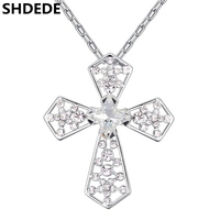 SHDEDE Austrian Crystal Cross Pendant Necklaces Women High Quality Rhinestone White Gold Color Christian Jewelry Gift