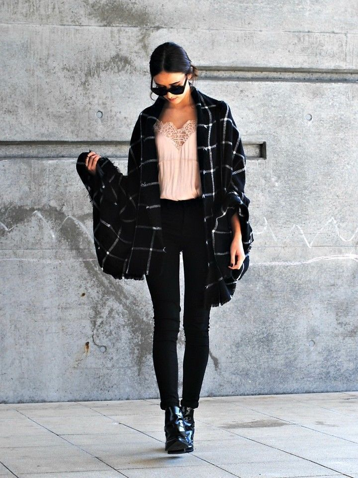 Clásico negro blanco escocesa de gran tamaño de la bufanda de la - Accesorios para la ropa - foto 4