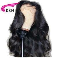 KRN 13*6 avant de lacet perruques de cheveux humains pour les femmes brésilienne cheveux vague de corps dentelle frontale perruque Remy cheveux pré plumés avec des cheveux de bébé