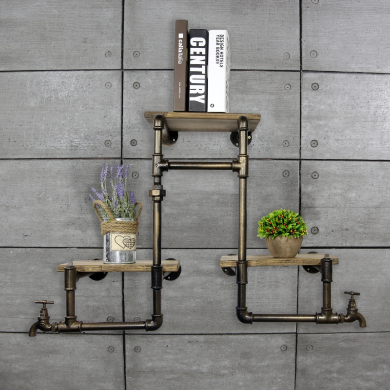 1PC Vintage Industrial Iron Pipes Wall Mounted Wood Bookshelves Living Room Decorating Storage Book Shelf Metal