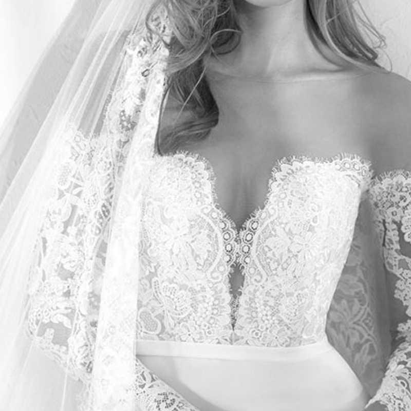 Lorie sereia vestidos de casamento manga longa 2018 robe de mariee ver através de vestidos de noiva sexy elástico feminino queda vestidos de casamento