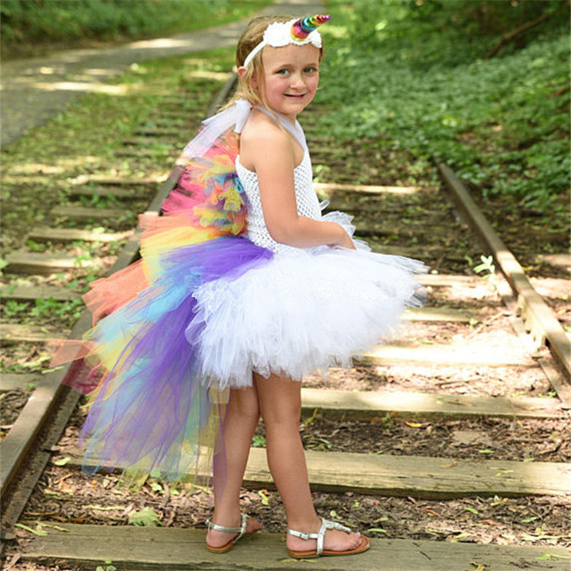 Rainbow Pony Unicorn Girls Tutu Dress Train Tail Tulle Princess Dress Girl Birthday Party Dress Halloween Costume For Kids 1-14Y