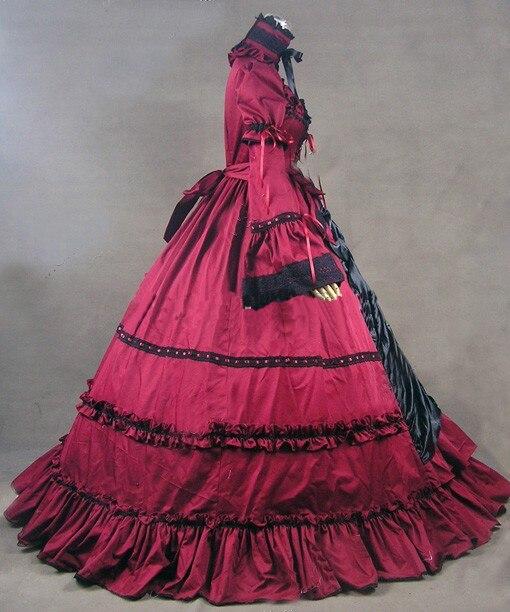 Période As Manches De Picture Rétro Rouge D'été Européenne Cour Victoriennes Bal Flare Gothique 2018 Classique Robes Col Carré Robe fOwTq