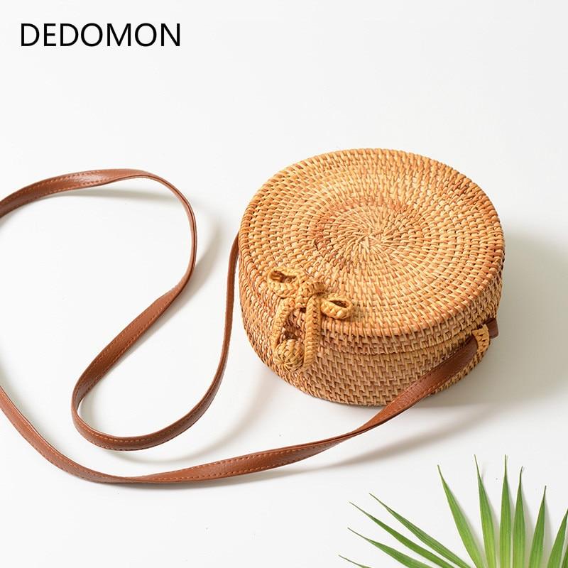 Bali Island Hand Woven Bag Round Butterfly Buckle Rattan Straw Bags Satchel Wind Bohemia Beach Circle Bohemia Bag Hollow Handbag
