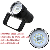 100W 18000LM Underwater 200M Hunting Diving Flashlight 10xCREE XM L2 White Light +4x Red Light+4x UV Light LED Waterproof Torch