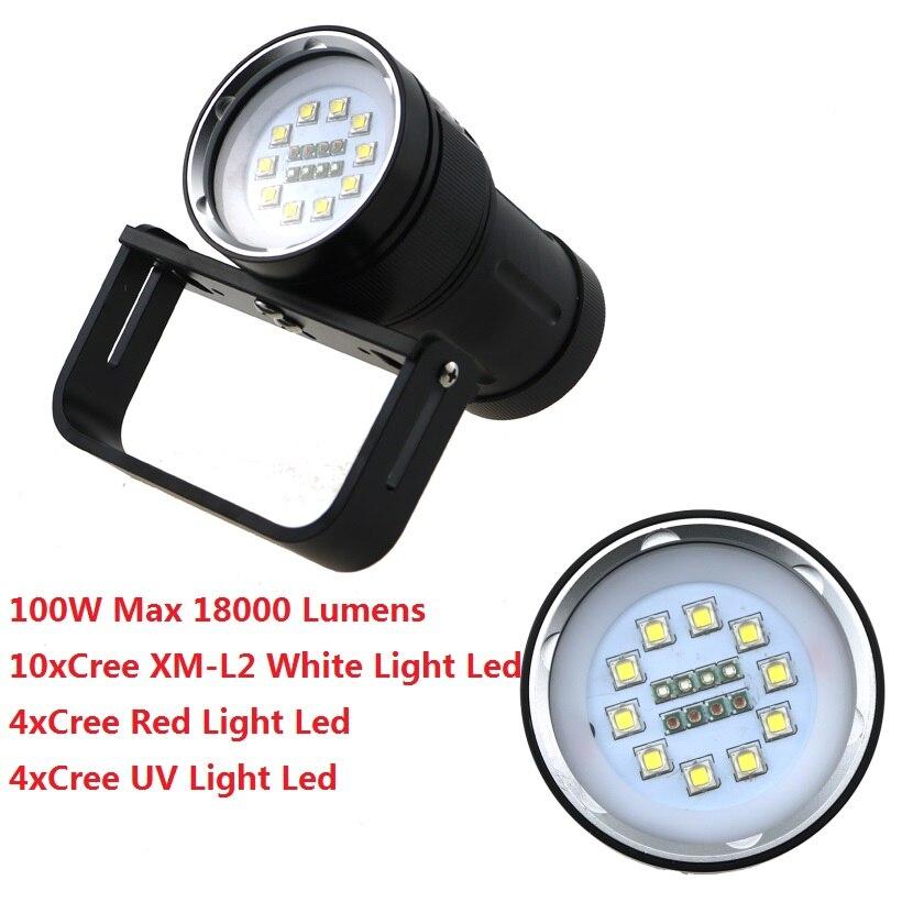 100W 18000LM Underwater 200M Hunting Diving Flashlight 10xCREE XM-L2 White Light +4x Red Light+4x UV Light LED Waterproof Torch
