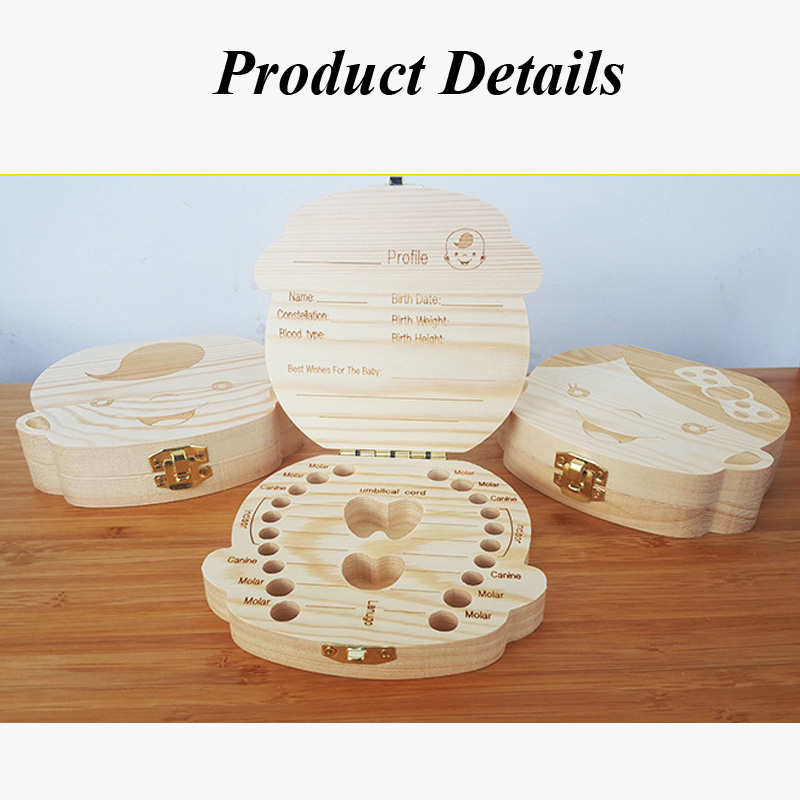 English/Spanish Wooden Box Tooth Box Organizer Save Milk Teeth Box Storage Teeth Gift Umbilical Cord Lanugo caja madera 16