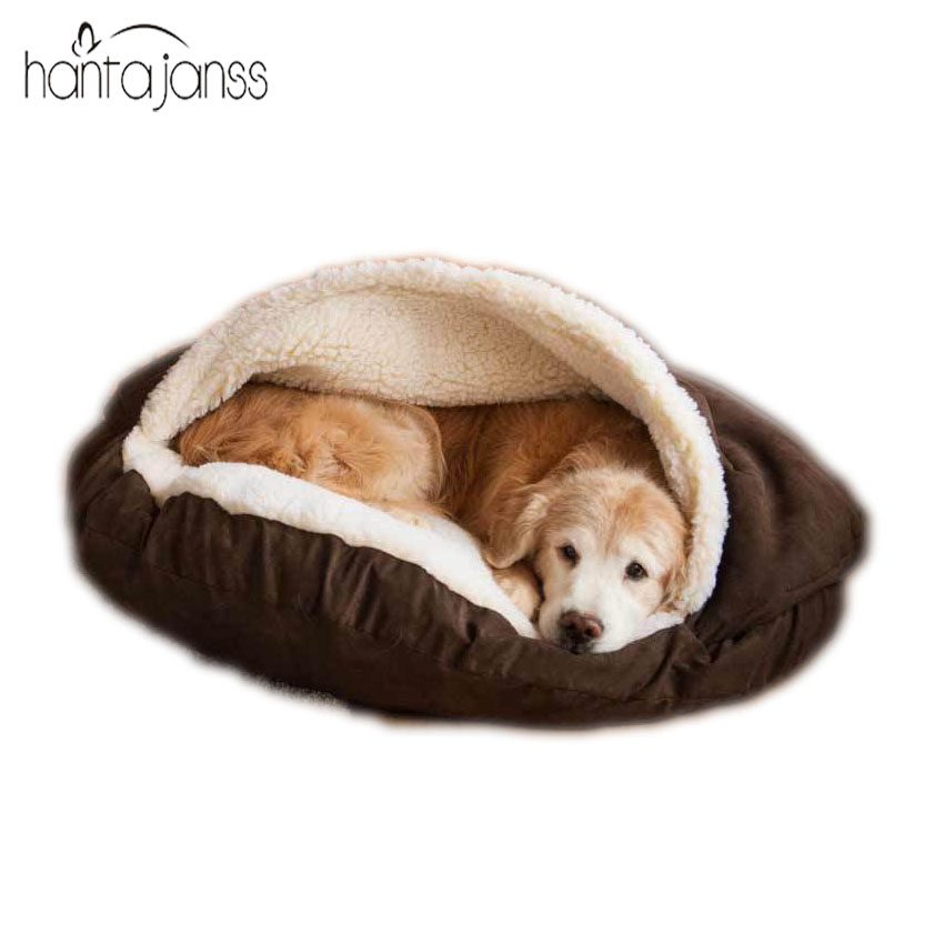 HANTAJANSS Pet Bed For Dogs and Cats House Washable Snuggery Round Burrow Pet Bed With Cover