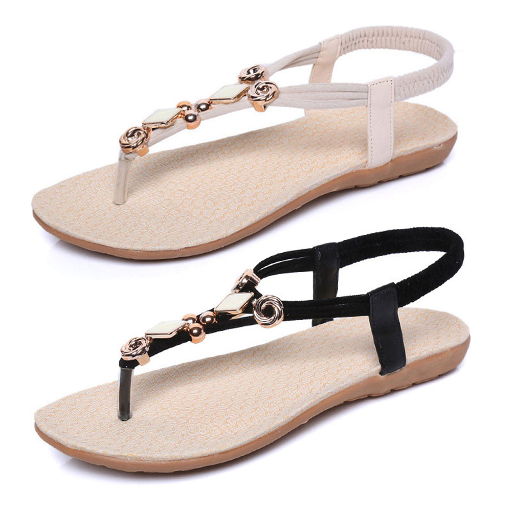 Women Bohemia Flat Sandals Shoes String Bead Flip Flop Decor Summer Beach Sandals LXX9 women flat wedge espadrille sandals lace tie up platform summer beach shoes lxx9
