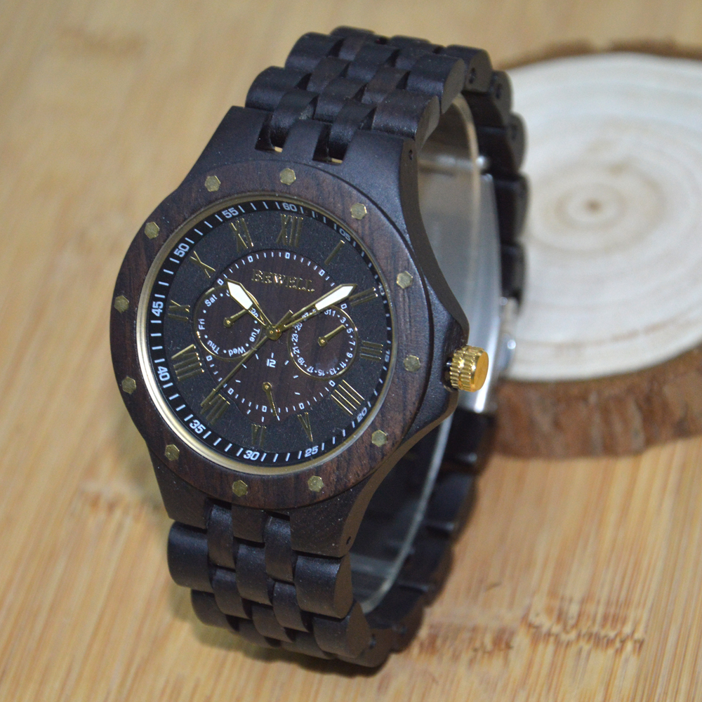 ФОТО BEWELL Wood Watch for Men Sandalwood Luminous Three Pointer Dress Watches relogio masculino 116C
