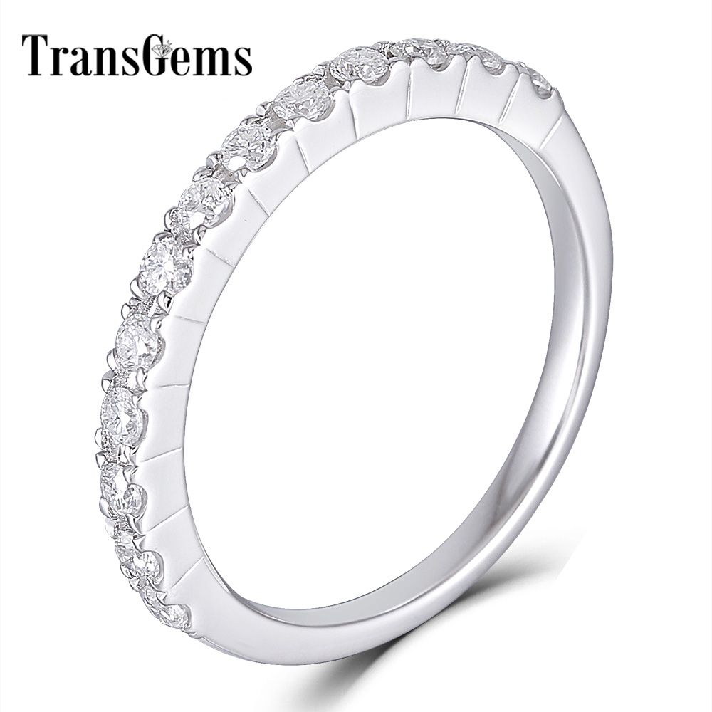 Transgems 14K 585 White Gold 0 48CTW 1 7mm Moissanite Half Eternity Wedding Band Stackable Band