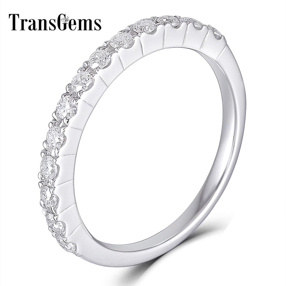 Transgems 14 K 585 oro blanco 0.48CTW 1,7mm Moissanite media eternidad boda banda apilable para mujeres-in Anillos from Joyería y accesorios    1