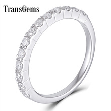 Transgems 14K 585 White Gold 0.48CTW 1.7mm Moissanite Half Eternity Wedding Band Stackable for Women