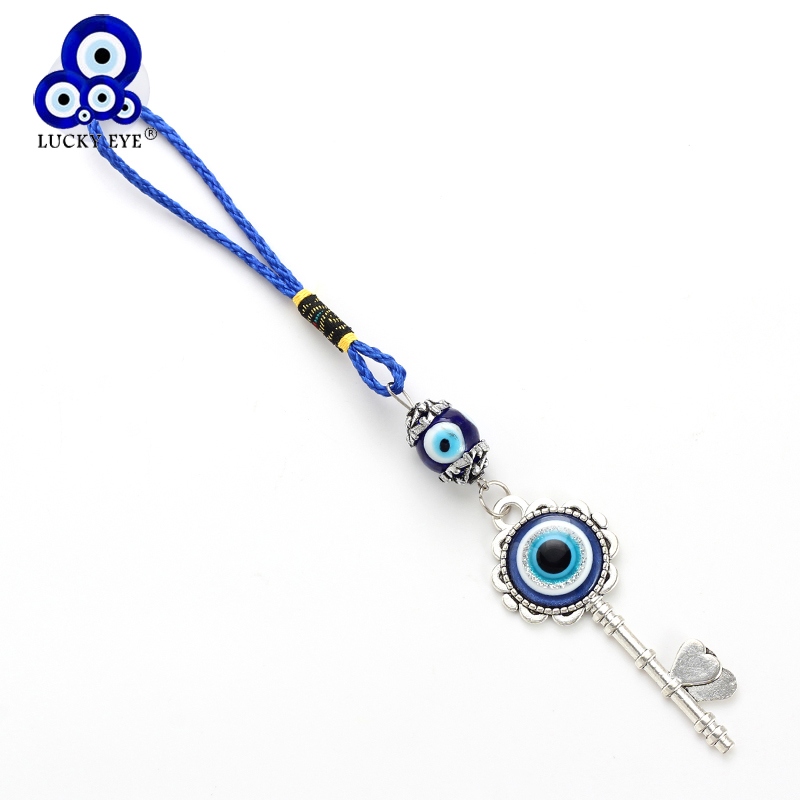 Lucky Eye Heart Key Charms Car Keychain Evil Eye Key Wall Hanging With Suction Cup Fashion Jewelry Gifts EY4846