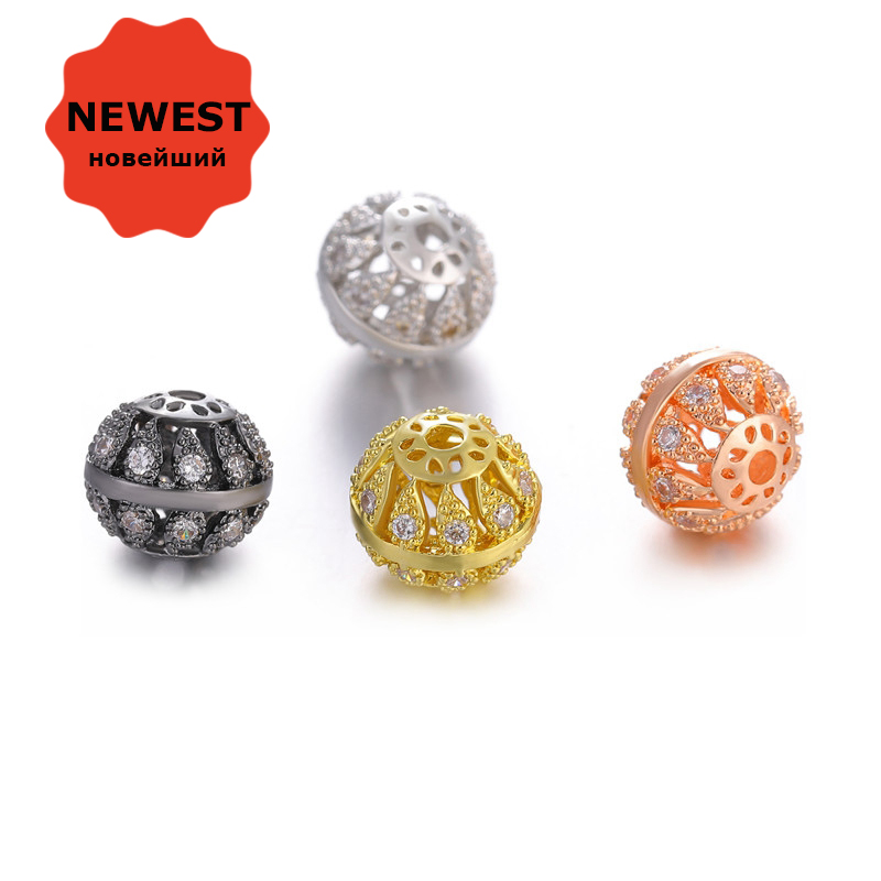 Beads For Jewelry Making Gold Silver Rose Gold Black Copper Metal Micro Pave  AAA Zircon Rhinestone dd26534f0bfd