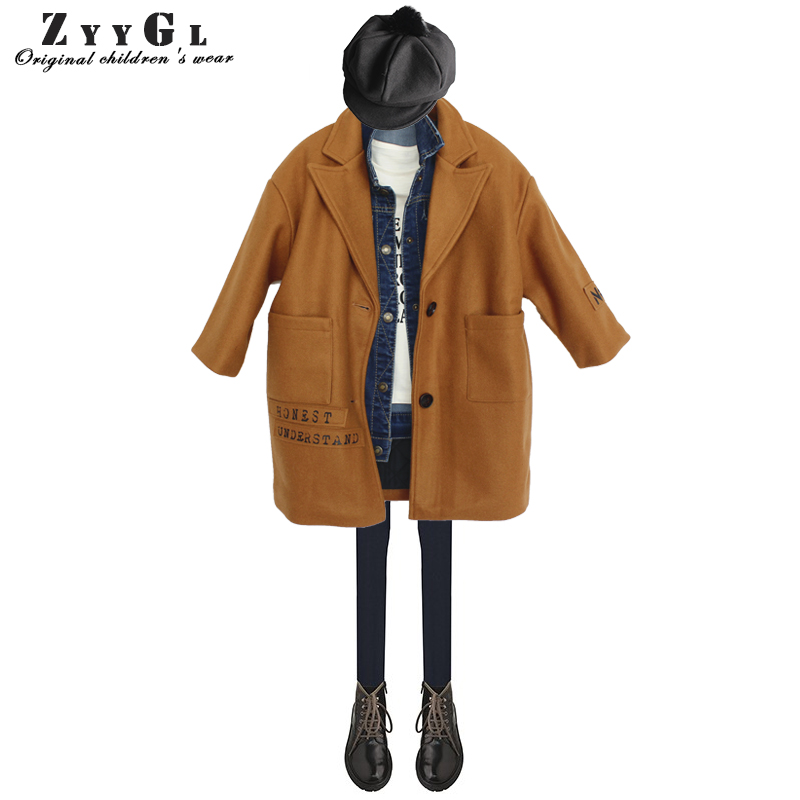 ZYYGL Girls' wool coat 2018 autumn and winter children long section Single-breasted woolen overcoat Solid color kids clothes the new children s cubs hat qiu dong with cartoon animals knitting wool cap and pile