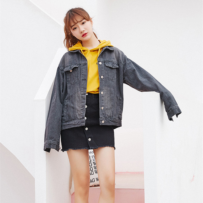 On Sale Women 2018 New Casual Denim Bomber   Jacket   Black Harajuku Outwear Plus Size Loose Jeans   Basic   Coat