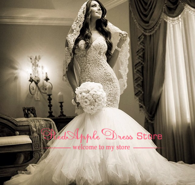 Luxury Cathedral Train Perfectly Dressed Dress Lace Long Mermaid ...