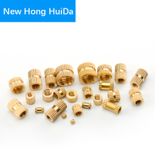 M5 Brass Knurled Nut Thread Double Pass Metric Round Copper Insert Nut Injection Moulding Nutserts Embedded Fastener (ID*H*OD) 100pcs m3 5 5mm od 5mm brass inserts double pass copper knurl nut embedded fastener