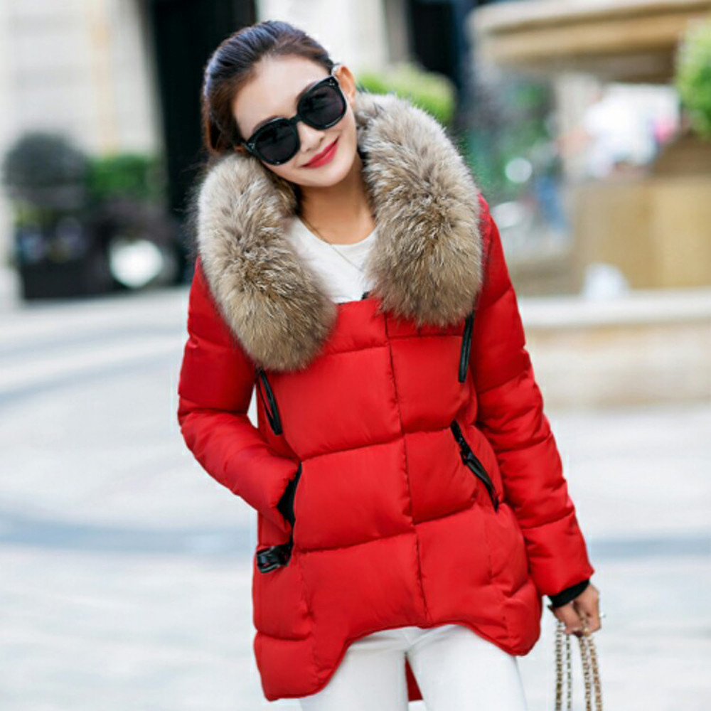 Mäntel und jacken frauen Mit Kapuze Outwear Winter Warme Mantel Dicken Pelz Kragen Baumwolle Parka Dünne jacke frauen 2018Oct9