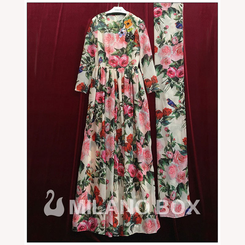 3374541302895 US $42.59 40% OFF|LD LINDA DELLA Runway Maxi Dress Women's Long Sleeve  Sequined Beading Rose Floral Bird Printed Long Dress With Scarf-in Dresses  from ...