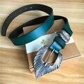 Hoja de La Manera Hebilla de Cinturón de Correa De cuero genuina de La Vendimia Señoras Cinturón Ceinture Femme Hembra Jeans Cinturones Mujer WBT0050