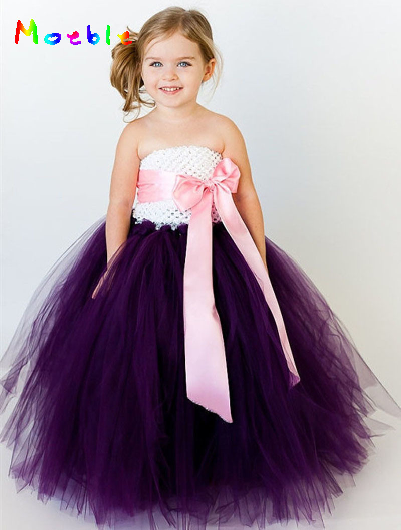Ribbon Bow Bērnu meitene grīdas garums Tutu kleita ziedu meitene - Bērnu apģērbi