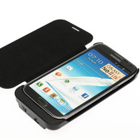 3600mAh External Backup Battery Charger Power Case Cross Pattern Flip Leather Cover For Samsung Galaxy Note