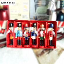 6pcs/box Christmas Tree Decorations Wooden Nutcracker Puppet Hanging Drop Onaments Woos Dolls Xmas Tree Decor Supplies Kids Gift