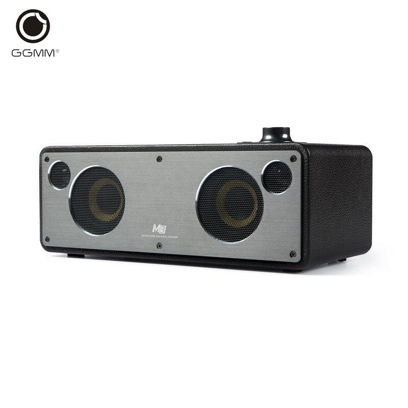 GGMM M3 Retro WiFi Wireless Bluetooth Leather Speaker Subwoofer HiFi Stereo Music Sound Speaker Handsfree DLNA Airplay Spotify