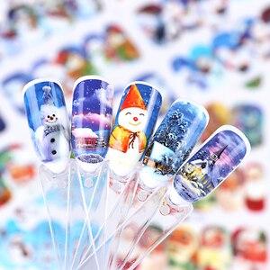 Image 5 - 1 sayfalık noel kar çiçek tırnak çıkartmaları tam sarar su transferi Sticker Nail Art çıkartmaları manikür şekillendirici araçları BEA1187