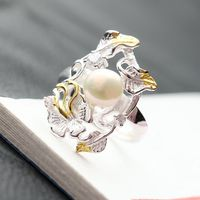Retro Thai Silver Wholesale Handmade Natural Pearl S925 Sterling Silver Ring Fashionable Female Open Ended Silver Ring