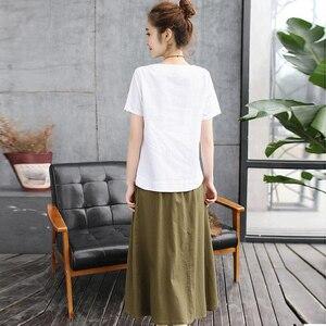 Image 3 - 2020 Summer Women Set Skirt Suit White print Cotton linen Tees Top Loose  Female Two Piece set (T Shirt+Skirt) womens clothing