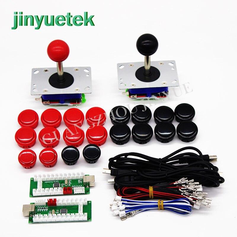 Jeu d'arcade original 2 pièces Manette + SANWA bouton poussoir + PCB USB à jamma PC PS/3 pour bricolage d'arcade faisceaux kit