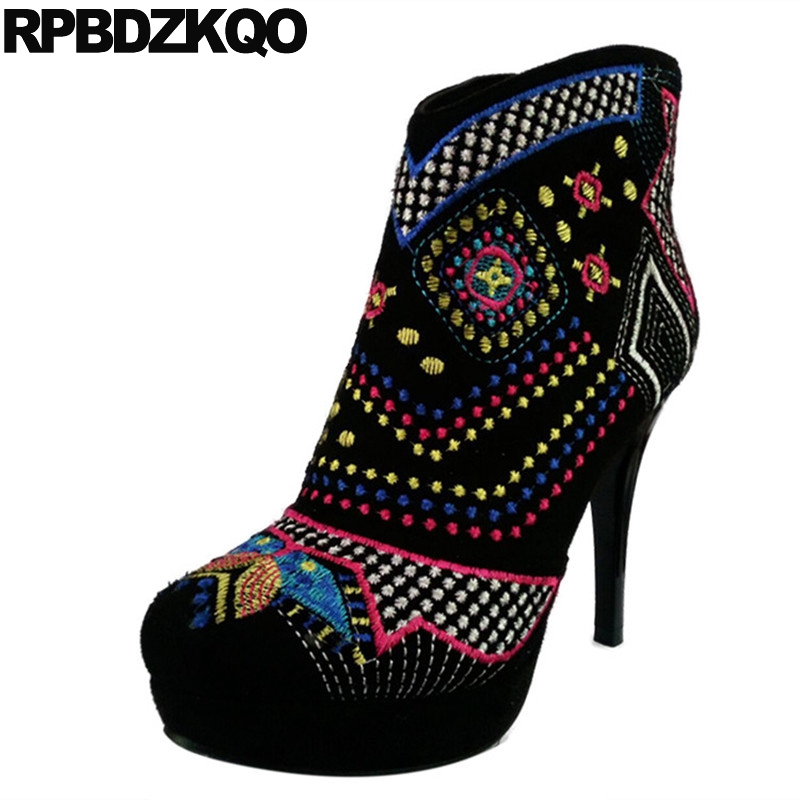 Embroidery Stiletto Platform Shoes Fetish Size 34 Black Extreme Booties Women Ankle Boots 2016 Round Toe Embroidered Fashion lf80855 sexy round toe punk ring gothic club party platform stiletto ankle boots black