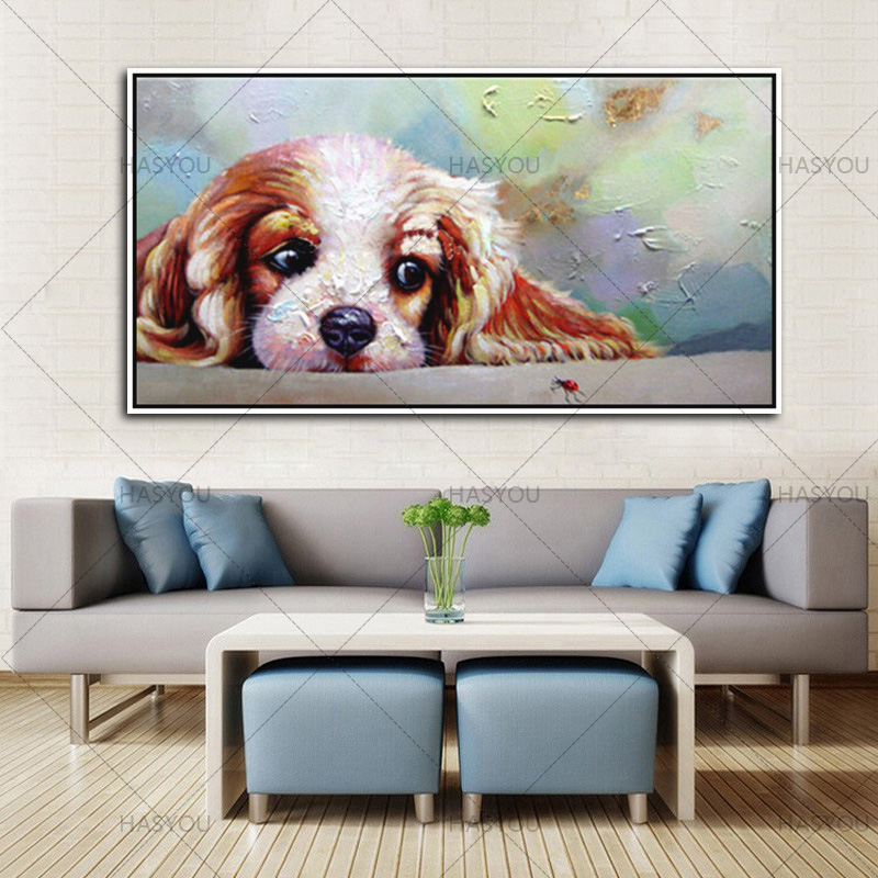 large Morden dog canvas Pictures 100% Handpainted funny Abstract acrylic Oil Painting On Canvas Wall Art For Home Decoration