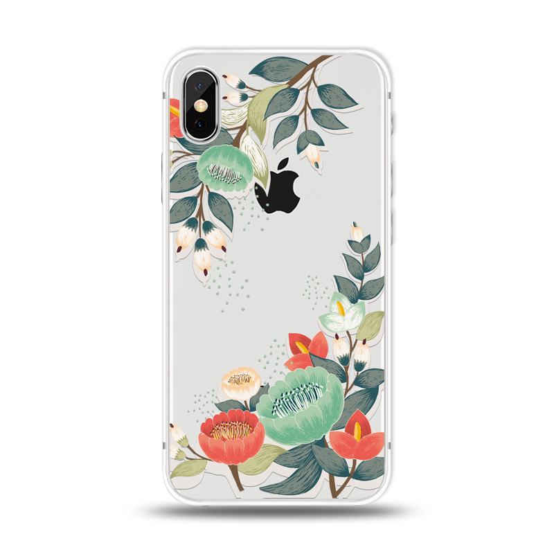 KIPX1027B_1_JONSNOW For iPhone 7 Flowers Pattern Soft Case For iPhone 6 6S 7 8 Plus Clear Back Cover for iPhone 5 5S SE Capa Coque Fundas