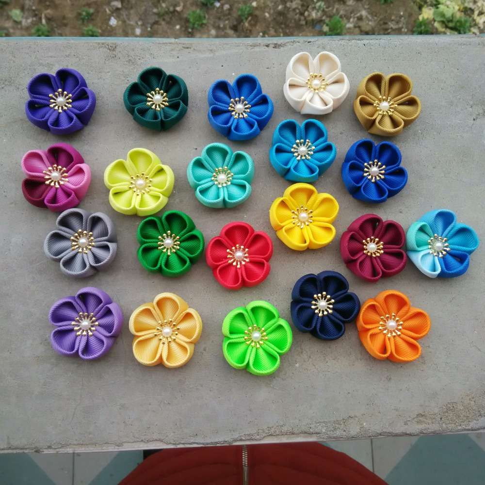 35 colors available handmade fabric flowers for DIY work mens suit lapel flowers pins bride hair clips headband