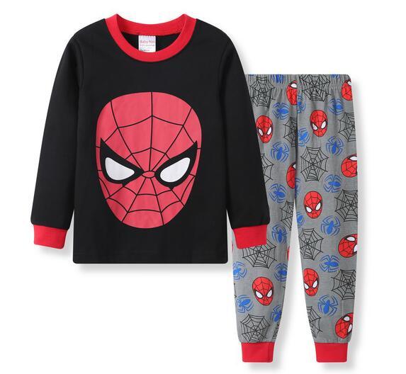 1 Set Kinder Baumwolle Langarm Cartoon Spiderman Pyjamas Baby Mädchen Jungen Nachtwäsche Kinder T-shirts + Hosen Kleidung Set 2-7 Chan362