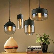 купить Nordic modern pendant lights  loft glass E27 E26 bulb LED kitchen hanging lamps restaurant bar living room bedroom lamps дешево