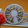12 Estilo 3D Dicas Triângulo Estrela Rodada Strass Arte Do Prego Telefone Decoração Metallic Studs Rivet Ouro Prata Roda de Ferramentas de Manicure