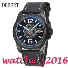 Luxury 44mm Debert black dial PVD case date window luminous hands miyota Automatic movement men's Watch