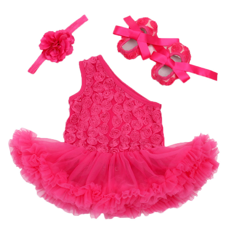 Baby Girl Klädsel Set Rose Flower Bebes One Shoulder Bridesmaids Party Dress Spädbarn Tutu Romper Heandband Shoes 3pcs Baby Set