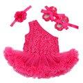 Ropa del Bebé Establece Rosa Bebe Flor de Un Hombro Damas de Honor Vestido de Fiesta Infantil Del Mameluco Del Tutú Zapatos 3 unids Heandband Bebé conjunto