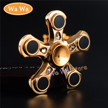 EDC Hand Spinner Gold Black Silver Metal Two-Spinner Fidget Toy Plastic Rotation Time Long Anti Stress Toys HH0058