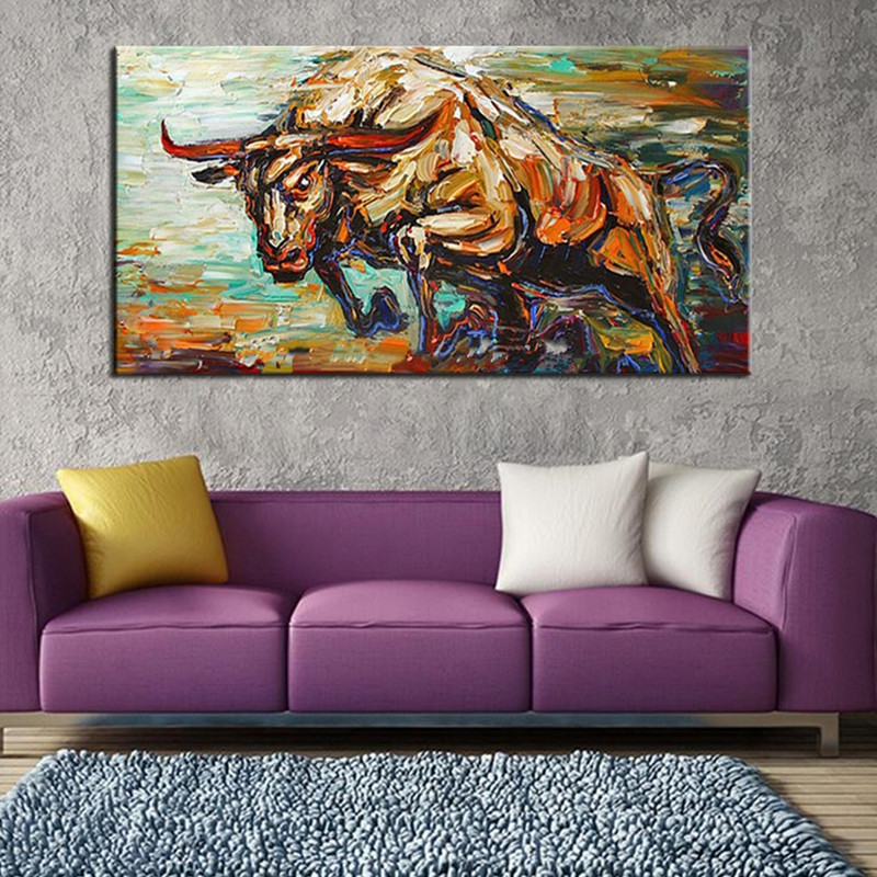 Large Wall Painting Knife Fighting Bull Pictures Handpainted Abstract Cartoon Oil Paintings on Canvas Home Decor